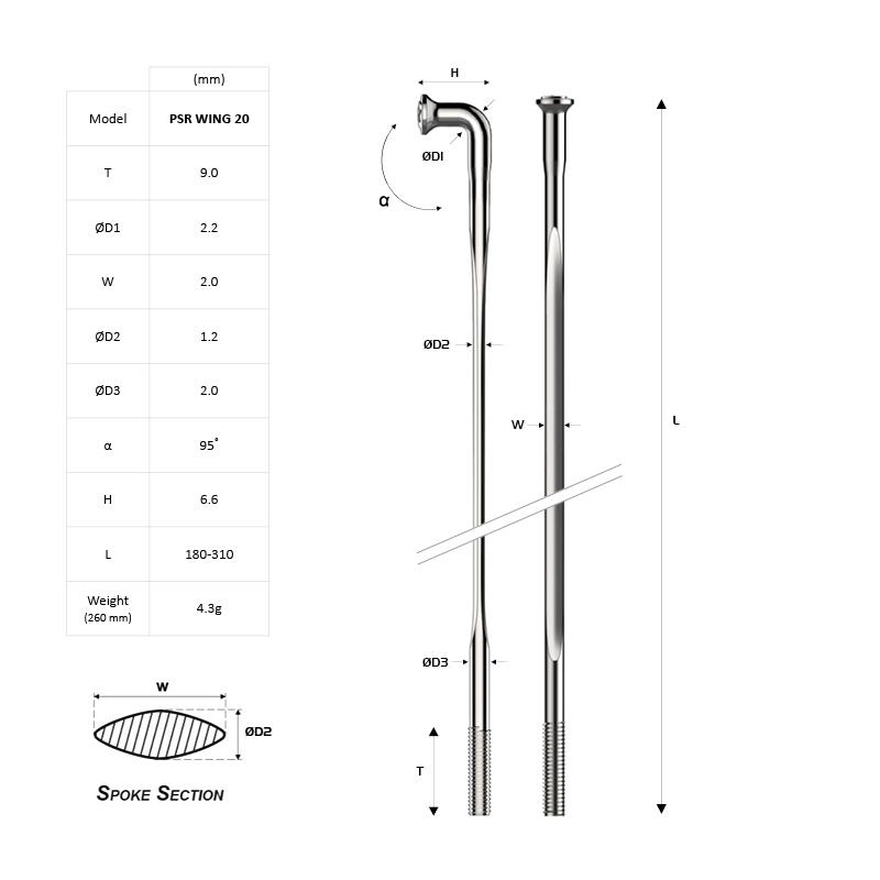 4 Spokes Length 270 mm Pillar Spokes PSR 14 IN Various Colours
